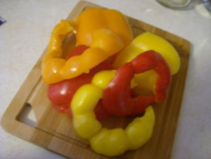 colorful bell peppers I found on sale at Aldi