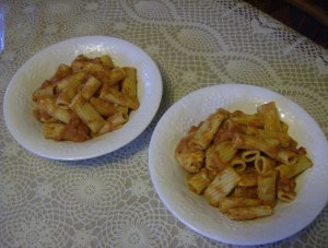 Chicken Rigatoni that we demoted to just spicy instead of wicked..without the chili peppers
