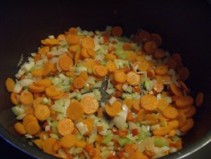 Carrots, onions and celery for chicken ala king