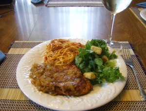 Chicken Marsala, Spaghetti and salad