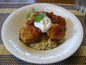 Chili con Carne Meatballs over bulgar wheat