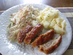 BBQ Ribs, Coleslaw and Potatoes