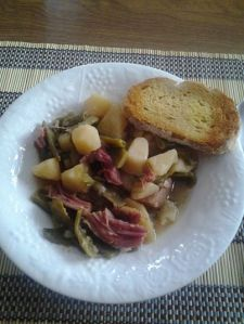 Ham string beans and potatoes